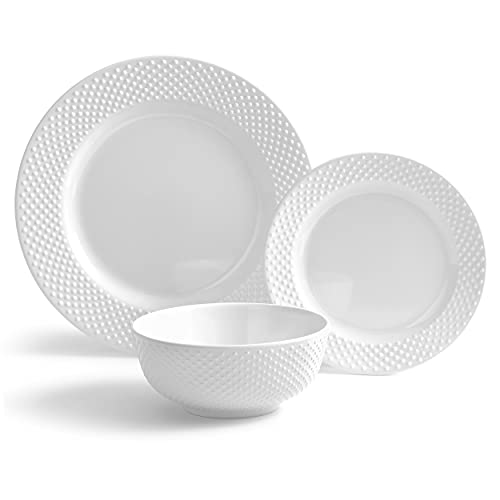 222 Fifth Solid Swiss Dots 12-Piece Melamine Dinnerware Set with Round Plates, Bowls, White
