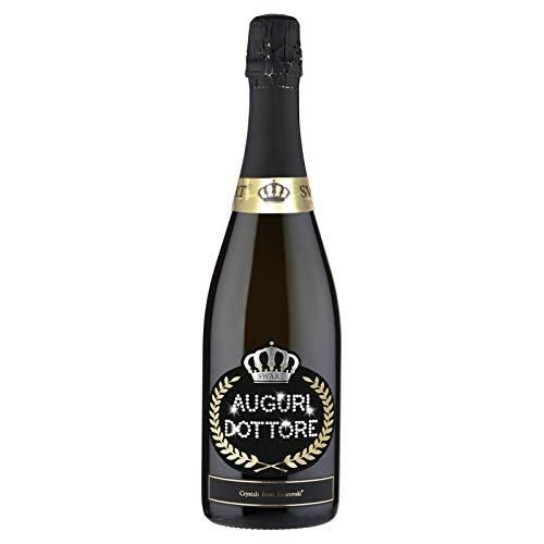 SWART Bottiglia Personalizzata con Veri Cristalli Swarovski - 0,75l Laurea/Eventi Particolari