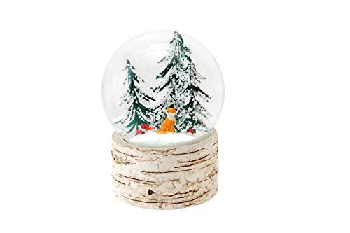 Das Gute Leben Musikalische Schneekugel Wasserball Barke-Effekt-Basis Fuchs Fliegenpilze-Baum Winter-Szene 14cm Hoch