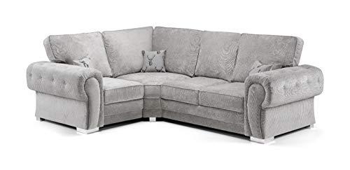 Honeypot - Sofa - Verona - Fullback - Corner Sofa - 3 Seater - 2 Seater - Footstool (Grey, Left Hand Corner)