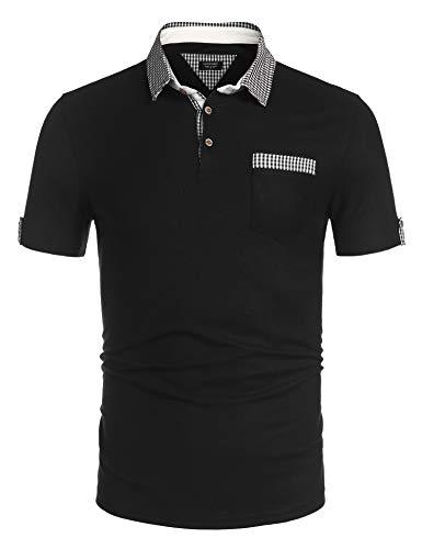 COOFANDY Herren Poloshirt Kurzarm Stehkragen mit Knopfleiste Regular Fit Basic Polohemd für Männer