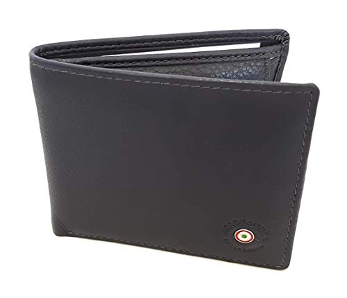 Aeronautica Militare Linea'Plate' Small Leather Wallet with Coin Purse Art. 131 Anthracite 10,5x8,5x2 cm