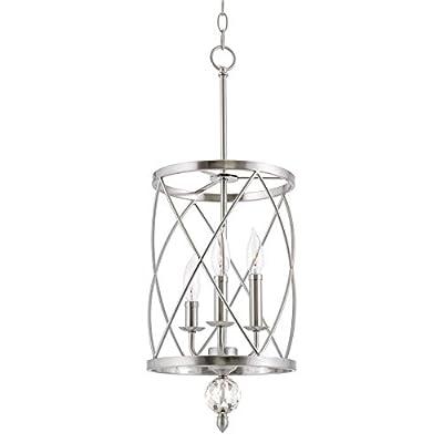 "Kira Home Eleanor 13"" 3-Light Modern Foyer Light Pendant Chandelier, Cylinder Metal Shade, Adjustable Height, Brushed Nickel Finish"