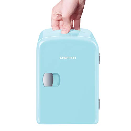 Chefman Mini Portable Blue Personal Fridge Cools Or Heats & Provides Compact Storage For Skincare, Snacks, Or 6 12oz Cans W/ A Lightweight 4-liter Capacity To Take On The Go