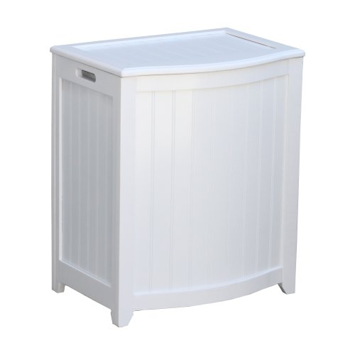Oceanstar BHP0106W Bowed Front Laundry Wood Hamper White Finished