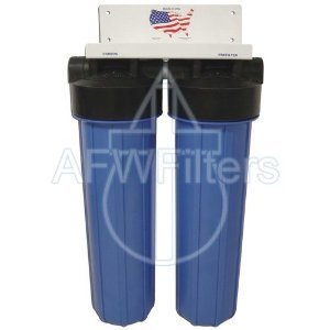 "20"" 2 Stage Big Blue KDF-85 Whole House Complete Water Filter System with Sediment and GAC/KDF 85 Filters"