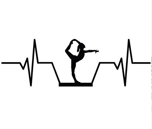 Generic Sticker De Carro Balance Beam Gymnastics Heartbeat Vinyl Decoration Car Sticker 17.8Cm * 5.7Cm Etiqueta del Coche 2Pcs