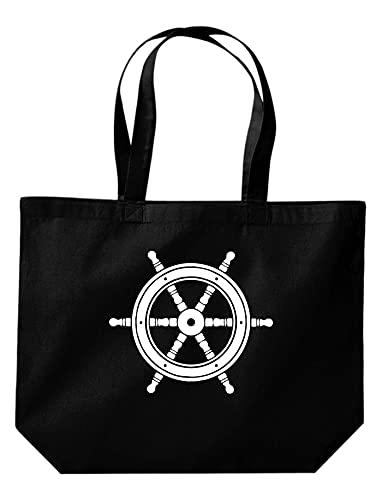 Shirtinstyle Bolsa Sailing Motivo Caballito de Mar - Timón, 35 cm x 39 cm x 13 cm