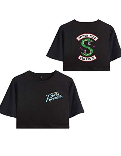 VERROL Camiseta Riverdale Adolescente Chica Serpientes Imprimiendo Crop Top T-Shirts Manga Corta Verano Casual Moda Camisetas Tops, Camisa de Verano Mujeres Crop Tops Short tee Shirts