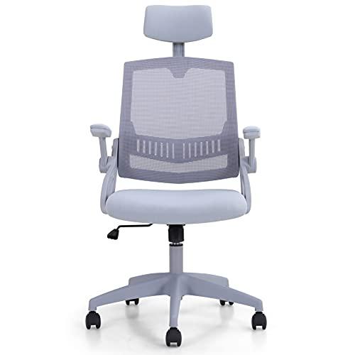 Sophia & William Ergonomic Rocking Mesh Office Desk Chair High Back, Modern Swivel Executive Computer Chair Adjustable Headrest, Flip-up Armrests, Fixed Lumbar Support, Load Capacity: 250 lbs, Grey