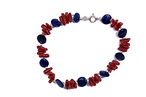 MAGICMOON - VTP10000371 - Maravillosa pulsera de mujer de coral y lapislázuli azul montada sobre plata 925 rodiada