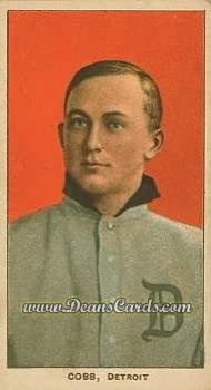 1909 T206 Reprint # 98 RED Ty Cobb Detroit Tigers (Baseball Card) (Portrait Red Background) Dean's Cards 8 - NM/MT Tigers