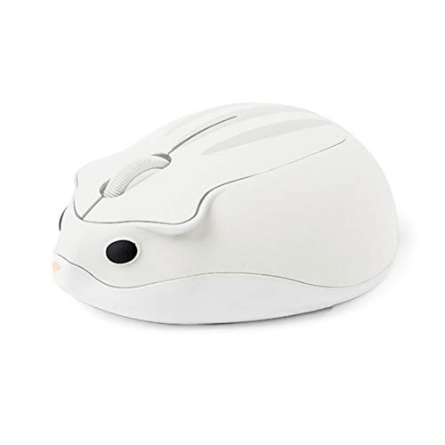Wireless Mouse Cute Hamster Shape Mice 2.4GHz 1200DPI Optical Mouse Skin-Friendly for Computer Laptop PC Accessory White