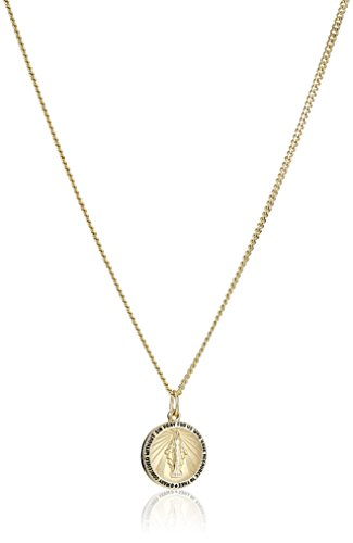 14k Gold-Filled Round Miraculous Medal Madonna Pendant Necklace with Stainless Steel Chain, 20