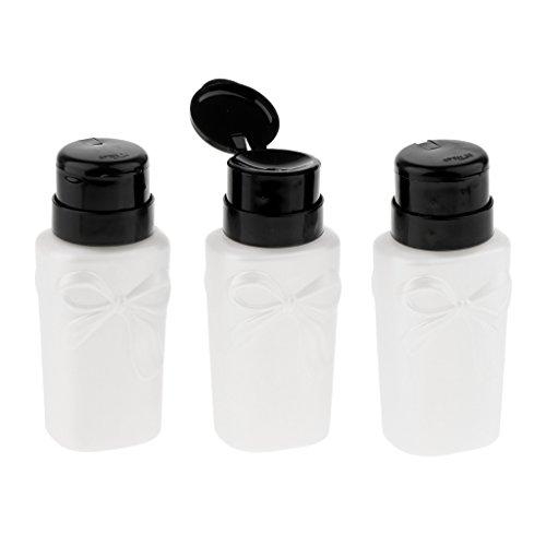 Baoblaze 3pcs 230ml Flacon Pompe Ongle Art Déco Détachant Bouteille Distributeur Liquide Nail Art - Blanc