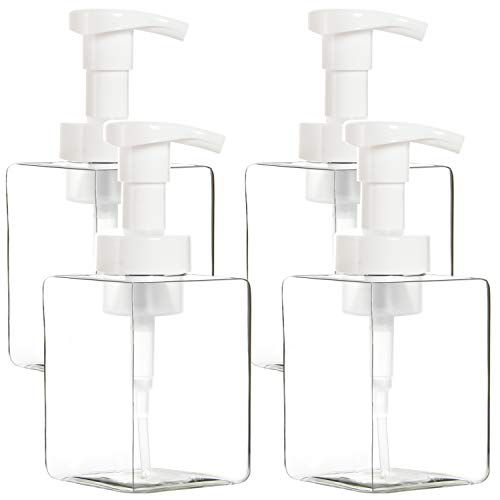 Youngever 4 Pack Clear Plastic Square Pump Bottles, Plastic Foaming Soap Dispenser, Refillable Plastic Pump Bottles with Travel Lock (12 Ounce)