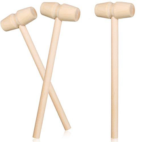3 Stücke Holz Krabben Hammer Holz Meeresfrüchte Cracker Schalentiere Holzhammer Mini Schale Cracker Werkzeuge für Meeresfrüchte Hummer, Leder Handwerk Schmuck Herstellung Zubehör