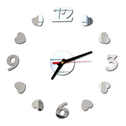 2 Pezzi Orologio da Parete Silenzioso Preciso Fai da Te, Orologio Parete Moderno Decorazione, Grande Orologio da Parete 3D Adesivo Home Office Decor R
