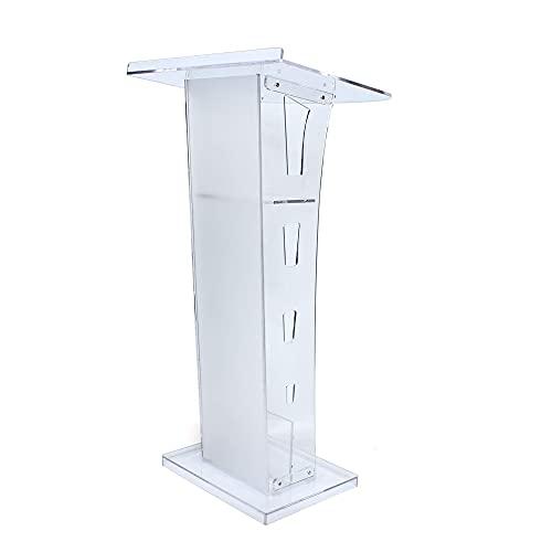 Acryl Podium Ständer Plexiglas Podium Ständer Acryl Podium Kanzel Kirche Rednerpult mit mehrfarbigen LED-Leuchten und Fernbedienung Schrägredner Schulpodium