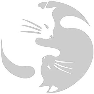 E-Fly 車 カーステッカー デカール Hugging cat 猫 ネコ かわいい 面白い 防水ステッカー  (白い)