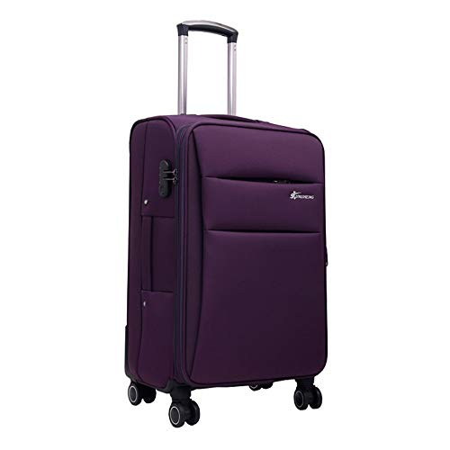 Suitcase And Durable Oxford Cloth Trunk Caster Tool Trolley Case Chassis Trolley Case Business Suitcase 20-28 Inch Suitcase Travel Luggage Case (Color : Purple, Size : 20Inch)