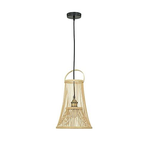 KAIKEA E27 Portalámparas Araña de bambú de estilo japonés Decoración de mesa creativa Iluminación Lámpara colgante para restaurante Balcón Luz colgante Estilo de diseño creativo Lámpara de techo Estud