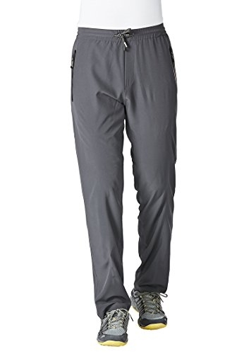 Rdruko Men's Quick Dry Outdoor Water-Resistant Quick Dry Workout Jogger Sweatpants with Pockets(Dark Grey, US XXL)