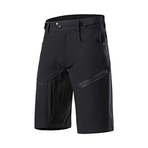 Pantalones Cortos de Ciclismo para Hombre,Sueltos Secado Rápido Ajustable Bicicleta de Carretera Shorts,con 6 Bolsillos,Deporte al Aire Libre MTB Bicicleta Pantalones Cor(Size:S,Color:Negro)