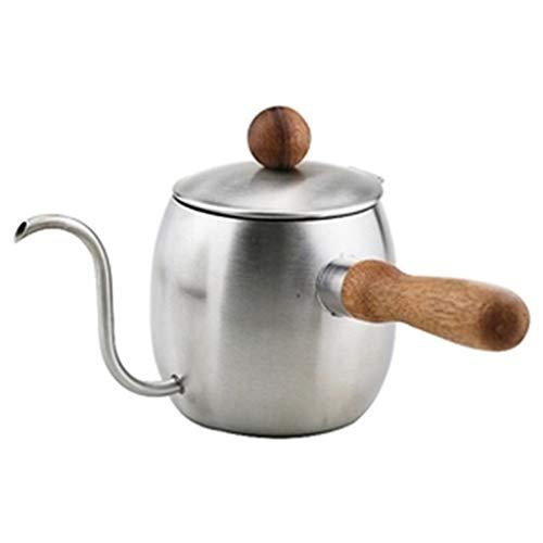 SJQ-coffee pot Acier Inoxydable 304 CafetièRe Japonaise en Bois RéSistant à la Chaleur PoignéE MéNage Bouilloire ThéIèRe