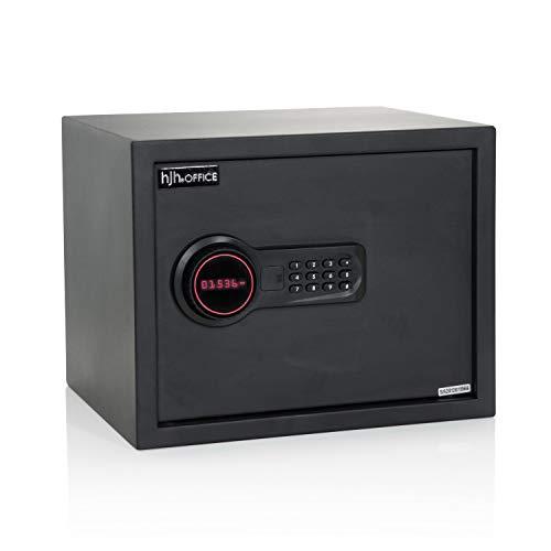 hjh OFFICE Caja fuerte Safe Compact de acero negro, 27 L, cerradura electrónica con combinación numérica, 30 x 38 x 30 cm, 830037
