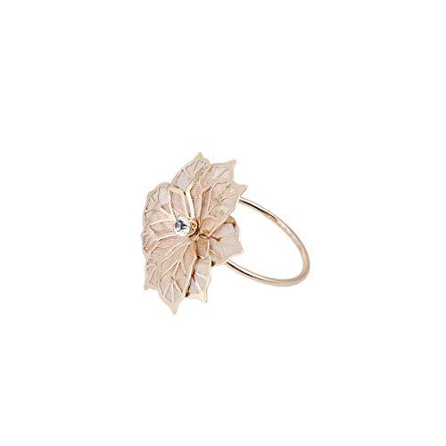DOITOOL 5pcs Christmas Napkin Rings Poinsettias Flower Napkin Rings Serviette Buckles for Christmas Holidays Dinner Decor Favor