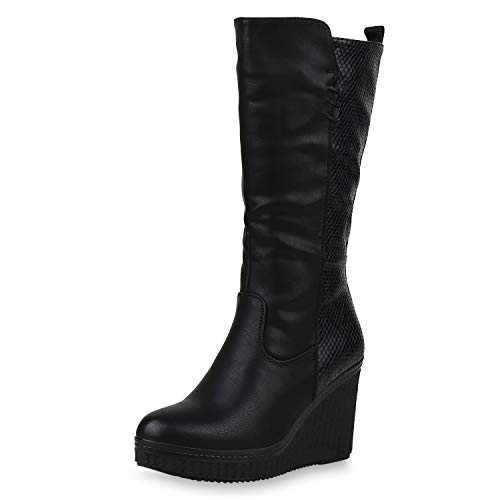 SCARPE VITA Damen Stiefel Keilstiefel Gefütterte Keilabsatz Schuhe Plateau Boots High Heels Leder-Optik Wedges Prints 187502 Schwarz Muster 41