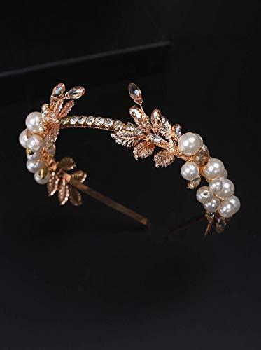 BERYUAN Tiara para mujer,diseño de hojas de perlas,accesorio para el pelo, accesorio para el pelo de boda,accesorio para el pelo con diamantes de imitación damas de honor y niñas