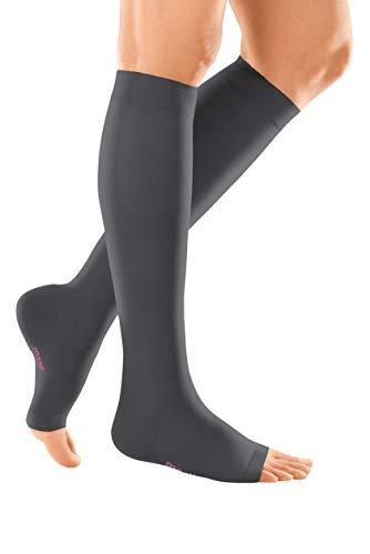 medi mediven elegance - 0249A03 Knielange Damen Kompressionsstrümpfe mit offener Spitze | CCL2 | Noppen-Haftband | Anthrazit | Gr. III normal