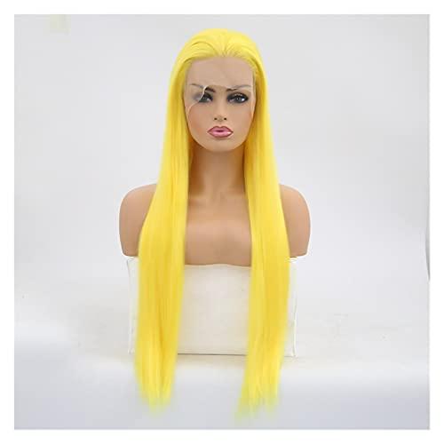 caihuashopping Peluca Peluca Amarilla Peluca Delantera de Encaje sinttico de Pelo Largo para Mujer Pelucas de Cosplay de Fibra de Alta Temperatura Extensiones Cabello (Wig Length : 22inches)