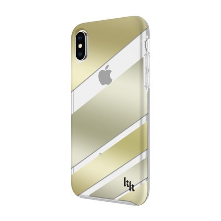 KENDALL + KYLIE Protective Printed Case for iPhone X - Diagonal Stripe Gold/Clear