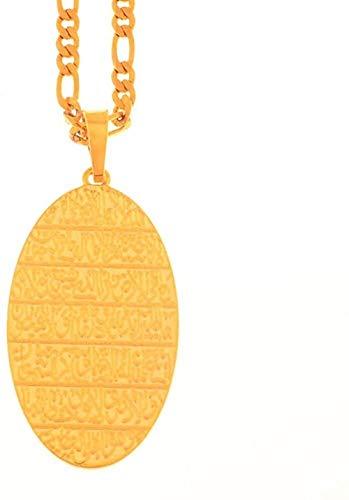 ZJJLWL Co.,ltd Collar árabe Biblia Colgante Collares para Mujeres/Hombres Oval Islam Escrituras Religión Joyería Regalos