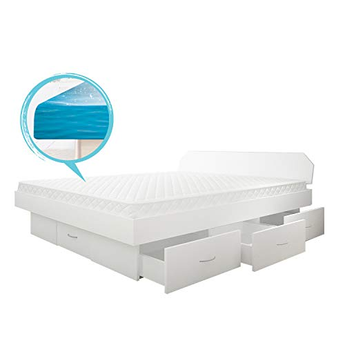 SONDERAKTION bellvita silverline Wasserbett mit Soft-Close Schubladensockel & Bettumrandung inkl. Lieferung & Aufbau durch Fachpersonal, 140cm x 200cm (weiß)