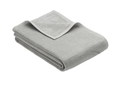 Ibena Kuscheldecke XL Porto 3560 / Tagesdecke hellgrau/Wolldecke 180x220cm / besonders flauschig weich & angenehm warm, Baumwollmischung in hervorragender Qualität in vielen Größen erhältlich