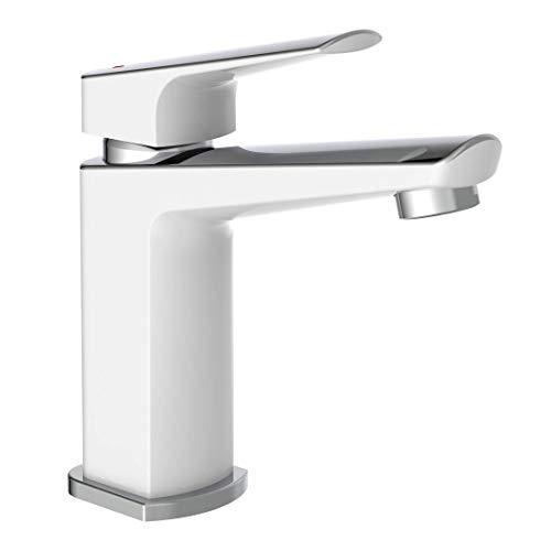 instmaier B2 // Wasserhahn Bad // Waschtischarmatur in Chrom Weiß // Premium Qualität // Wasserhahn Bad // Einhebelmischer aus Messing // Einfache Montage