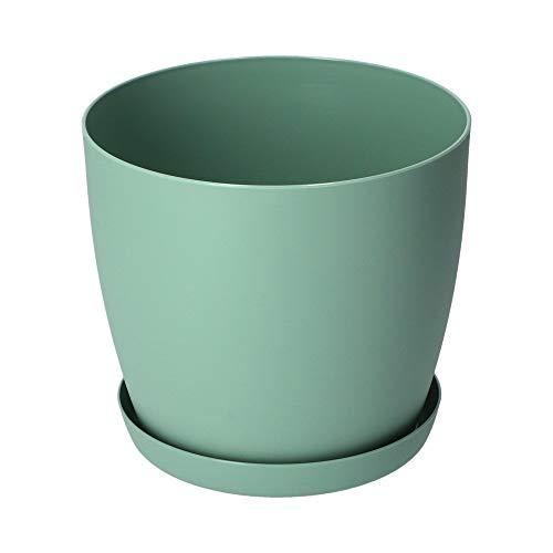 KADAX Blumentopf, Pflanzkübel mit Untersetzer, runder Blumenkübel aus Kunststoff, Matte Topf für Kakteen, Farne, glänzender Übertopf für Balkon, Wohnung und Terrasse (⌀ 20cm, Minze)
