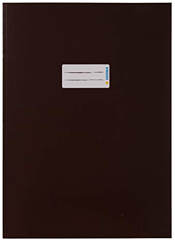 HERMA 19754 Karton Heftumschlag DIN A4, Hefthülle mit Beschriftungsfeld, aus stabilem und extra starkem Papier, Heftschoner für Schulhefte, braun