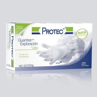 Guante de Latex Protec, caja con 100 guantes desechables, Bajo de Polvo, de exploración, Liso, ambidiestros, no estéril (Mediano - Blanco)