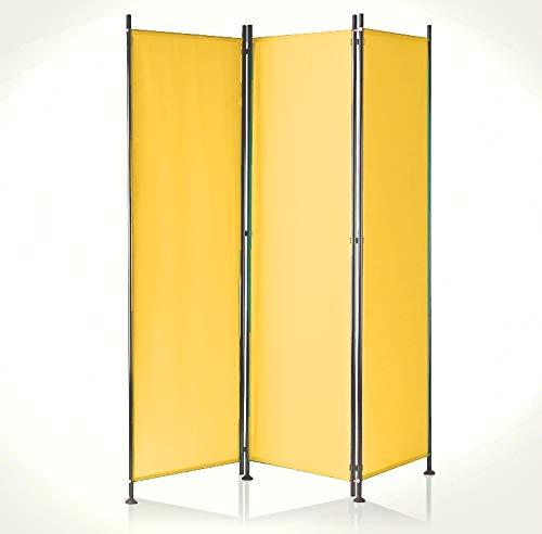 IMC Paravent 3-teilig gelb-orange Raumteiler Trennwand Sichtschutz, faltbar/flexibel verstellbar, wetterfester Polyester-Stoff, Schwarze Metallstangen