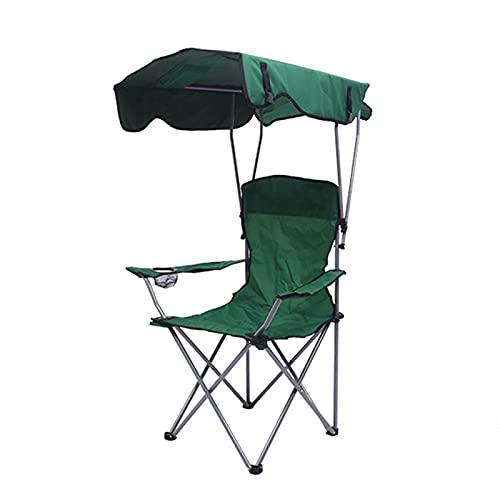 LHX Silla Plegable con sombrilla al Aire Libre Silla portátil 600D Silla de salón de Playa Oxford Playa con Dosel (Color : Dark Green)