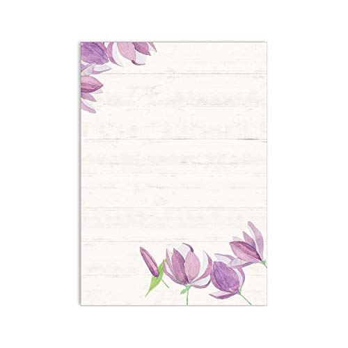 Briefpapier Set Blume I 50 Blatt vintage Motivpapier in DIN A4 I Tulpe Frühling I in beige lila I Einladung Geburtstag Liebe Valentinstag I dv_018