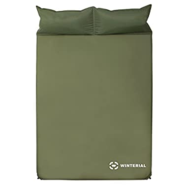 Winterial Double Self Inflating Sleeping Pad with Pillows, Camping, Backpacking, Travel, 2 Person
