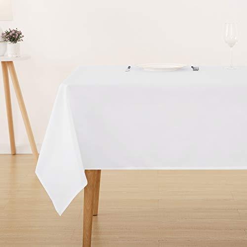 Deconovo Tischdecke Wasserabweisend Tischwäsche Lotuseffekt Tischtuch 130x130 cm Weiß