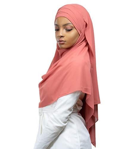 Hijab zum Einfädeln, komplett Crêpe-Chiffon, mit integrierter Mütze Gr. Einheitsgröße, korallenrot