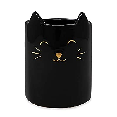 Small Ceramic Black Cat Multipurpose Organizer Cup